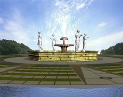 3D model Fountain with Four Sculptures