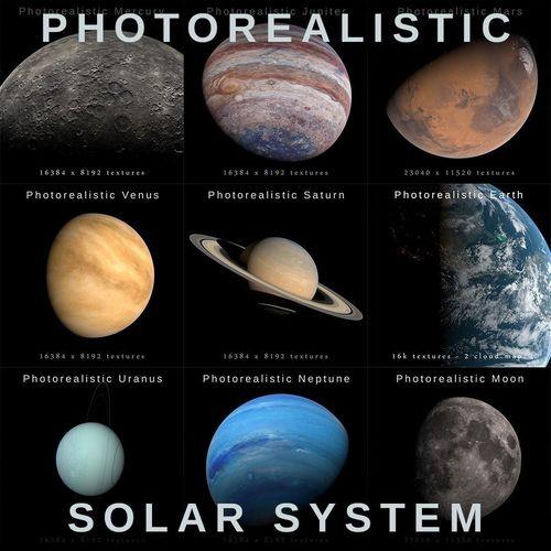 photorealistic solar system  3d model max obj mtl fbx blend 1
