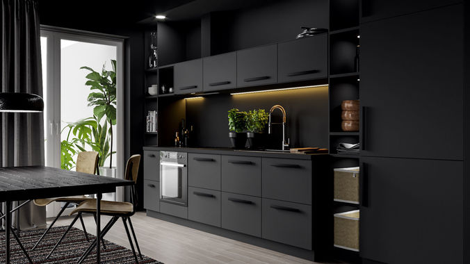 ikea kitchen scene 3d model c4d 1