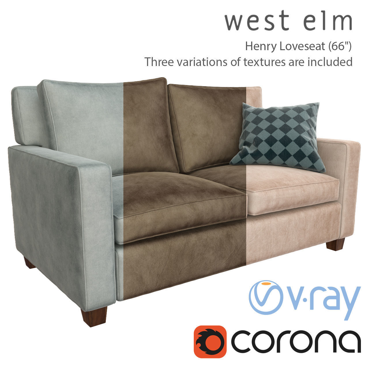 Wondrous Sofa Henry Loveseat West Elm 3D Model Caraccident5 Cool Chair Designs And Ideas Caraccident5Info
