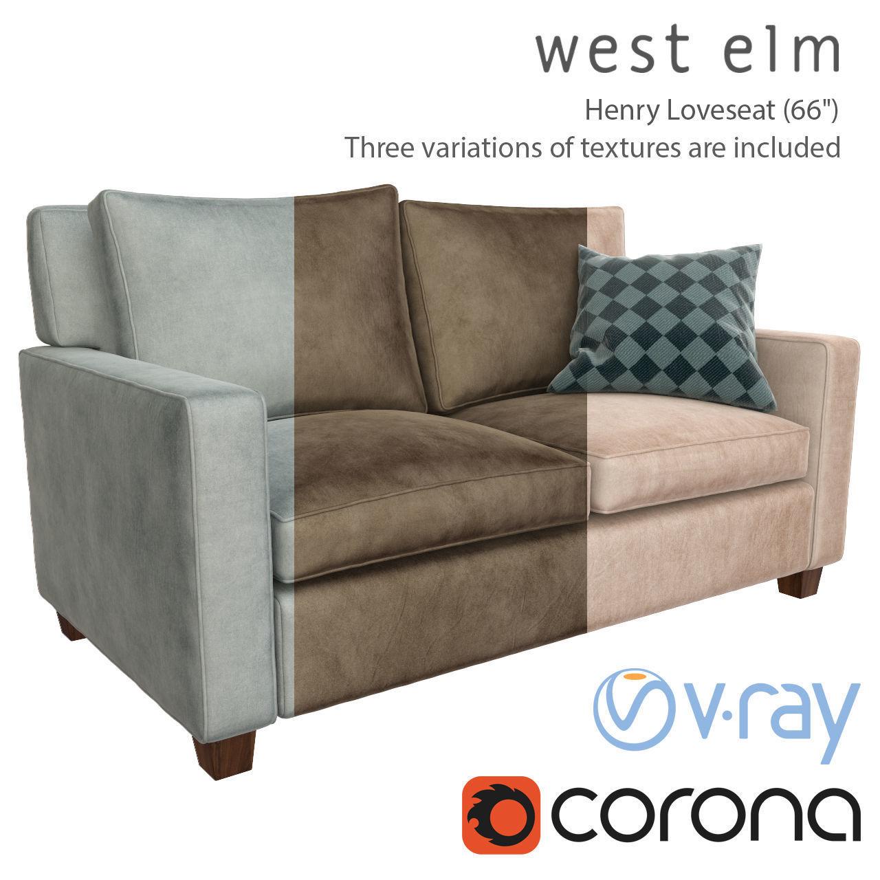Excellent Sofa Henry Loveseat West Elm 3D Model Machost Co Dining Chair Design Ideas Machostcouk