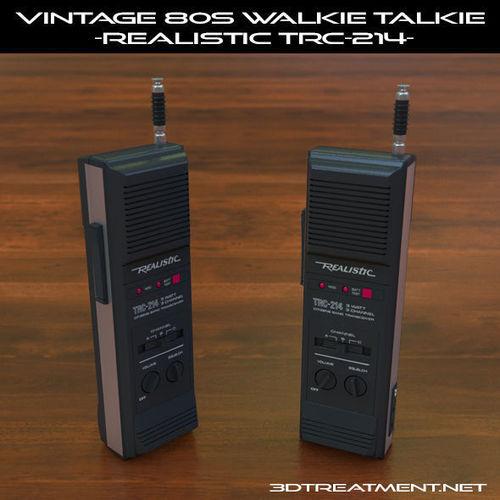 vintage 80s walkie-talkie realistic trc-214 3d model obj mtl 3ds fbx c4d dxf 1