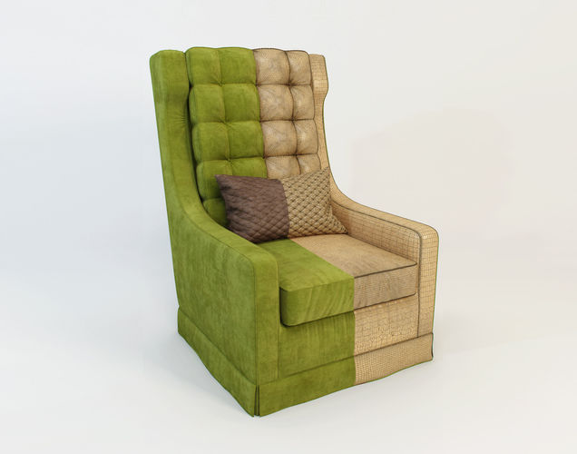 red forman armchair - that 70s show 3d model max obj mtl 1