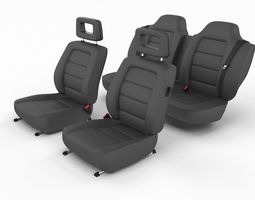3D Generic Black Leather Car Seats