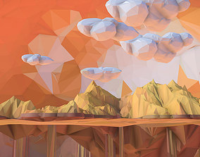 3D asset Low Polygon Art Sand Waterfall Island Mountain