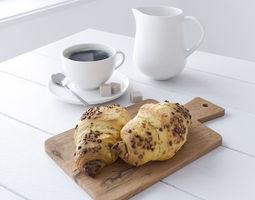 3D Decor Set Chocolate Croissant