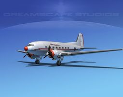 3D model Douglas DC-3 American Airlines