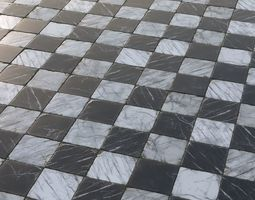 Aged marble black and white large chequered tiles 3D asset