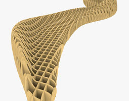 3D model Parametric Bench With Ribs Structure