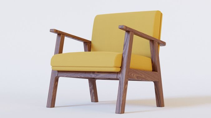 3d Wooden Chair With Cushion Seat Cgtrader
