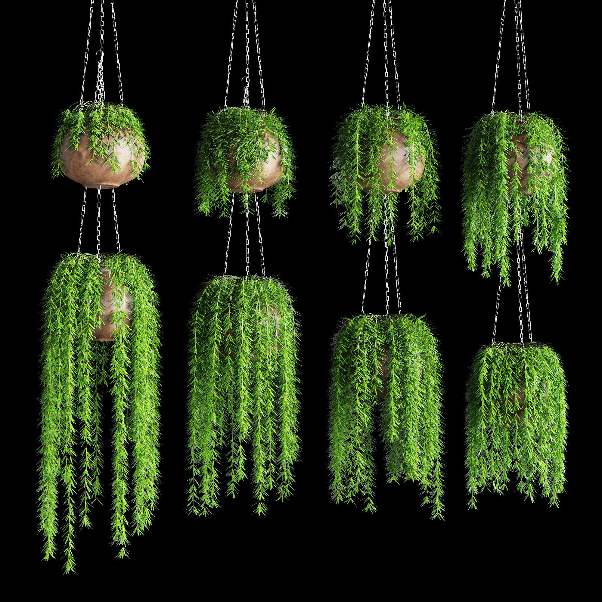 Hanging plants in pots on a chain 8 models