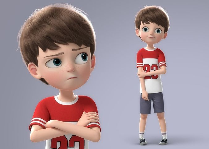 cartoon boy rigged 3d model rigged obj fbx ma mb mtl tga mel 1