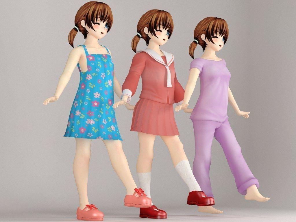 Keiko anime girl pose 2 3d model max fbx tga 1