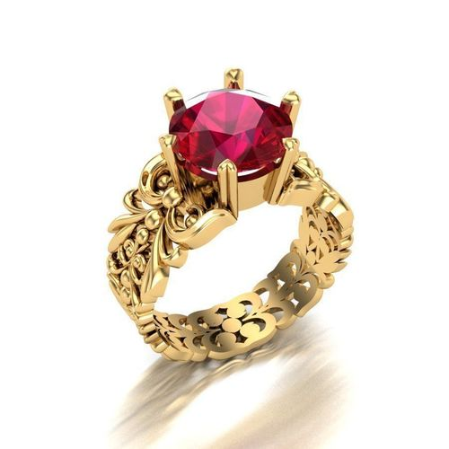 3D printable model Ring with ruby