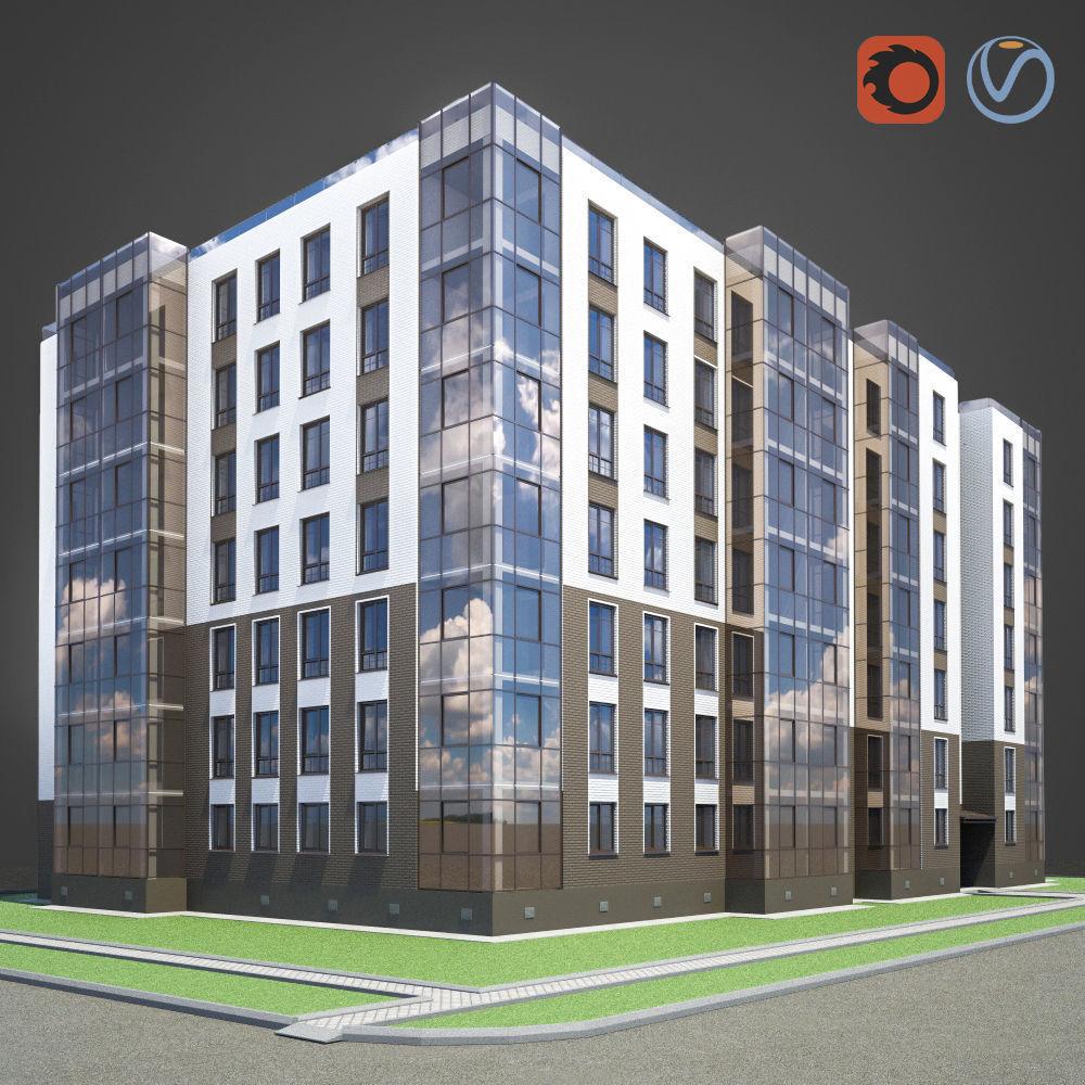 Old Brick Apartment Building: Apartment Brick Building 3D