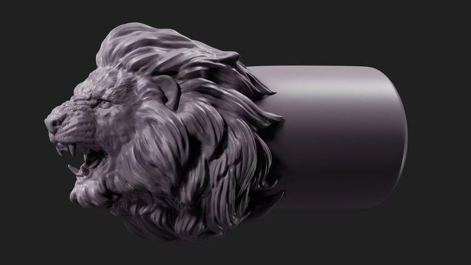 lion face tip 3d model obj fbx stl blend 1
