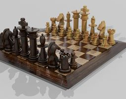 WOODEN CHESS SET 3D model realtime