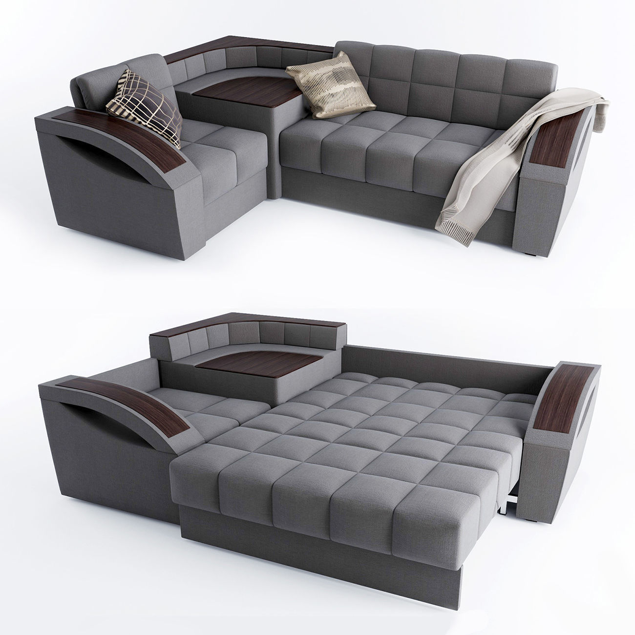 Corner sofa bed Montreal with a left angle Hoff  8D model
