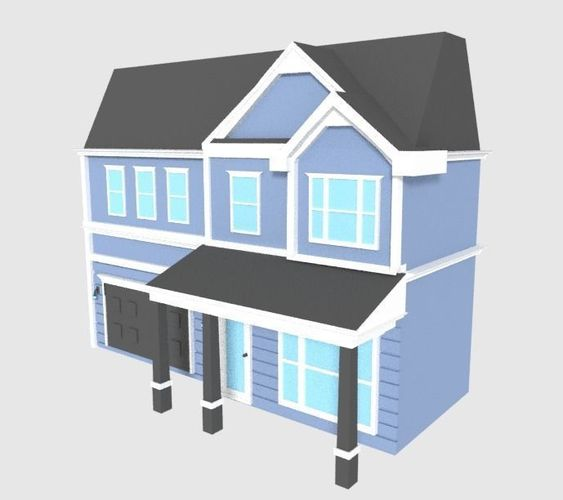 Two Floors Low Ploy House Model Poly Fbx Blend 1