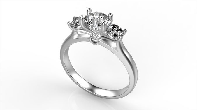modern round diamond ring all size 3d model stl 3dm 1