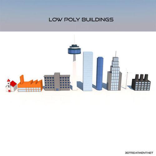 low poly buildings 3d model low-poly c4d 1
