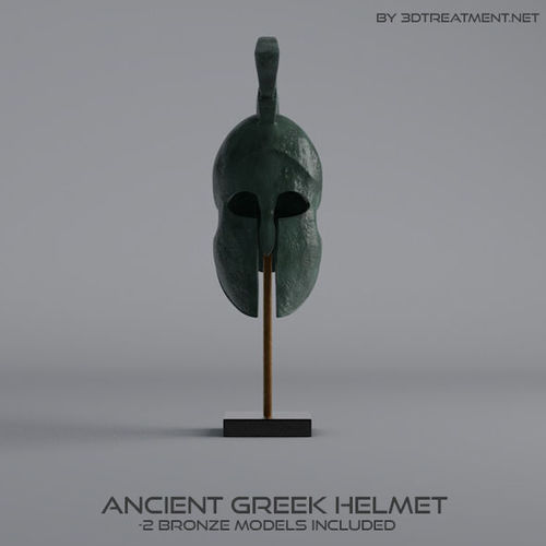 ancient greek helmet 3d model low-poly obj mtl 3ds fbx c4d dxf 1
