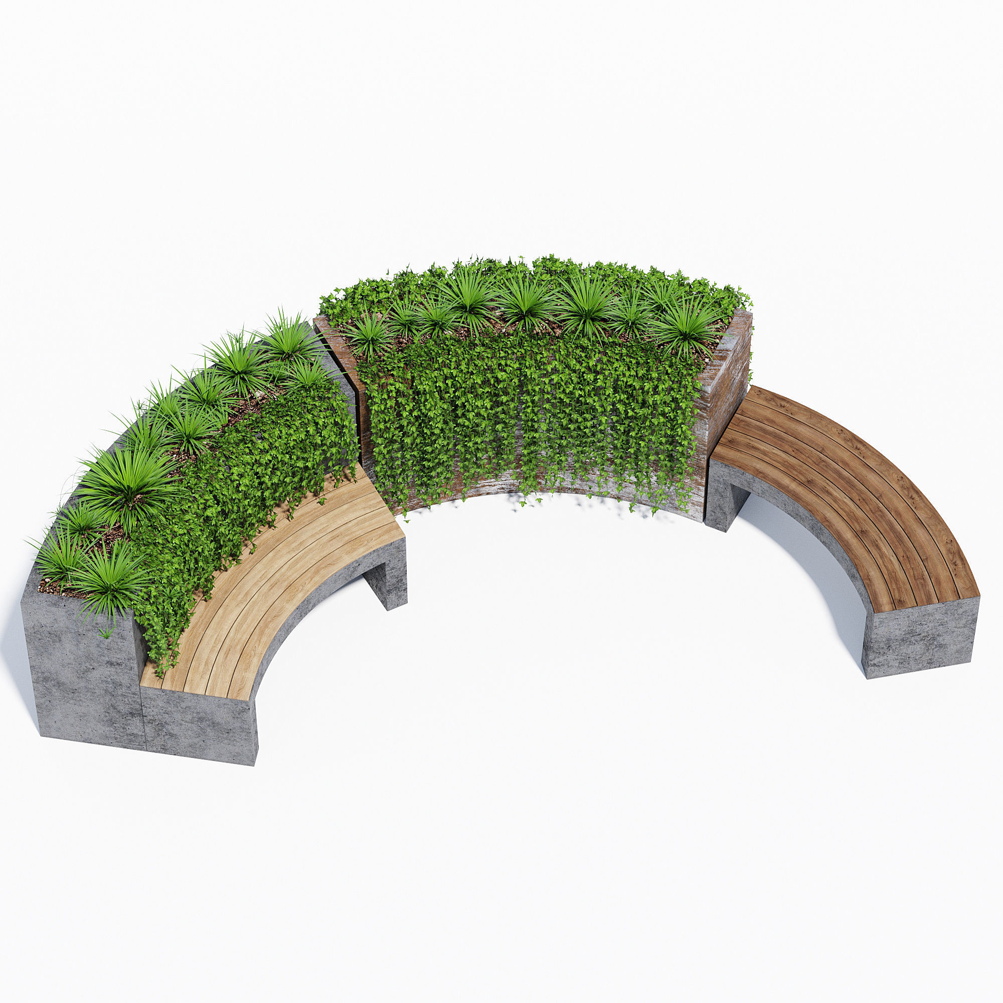 Curved planter bench two
