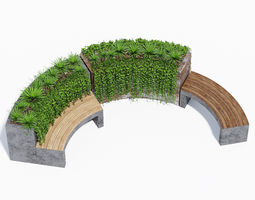 3D model Curved planter bench two