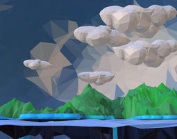 Low Polygon Art Green Waterfall Island Mountain 3D