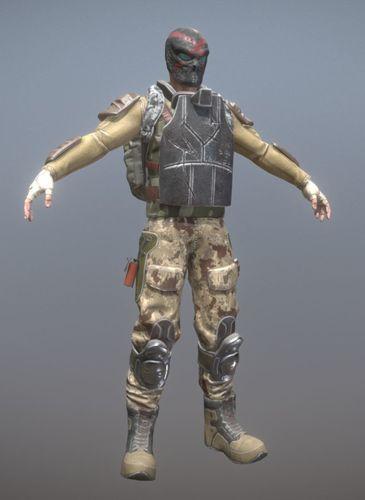 rigged mercenary c 3d model low-poly rigged fbx 1