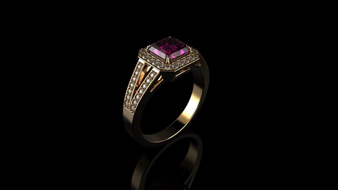 pink sapphire halo diamond ring 3d model stl 3dm 1