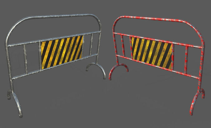 low poly traffic barrier 3d model low-poly max obj mtl 3ds fbx 1