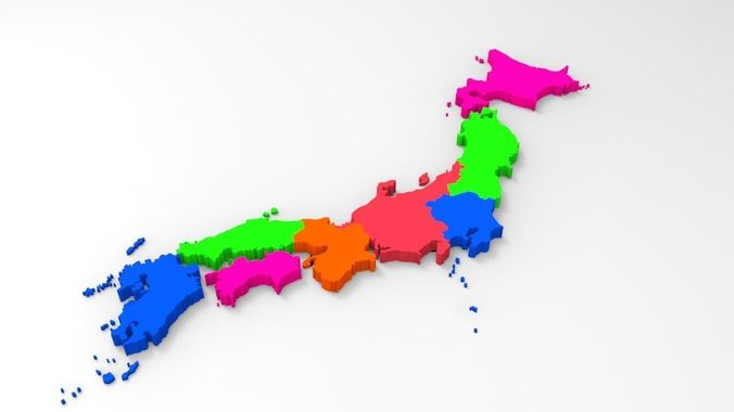 Japan Map Regions.Japan Map With Its All Regions 3d Model Cgtrader