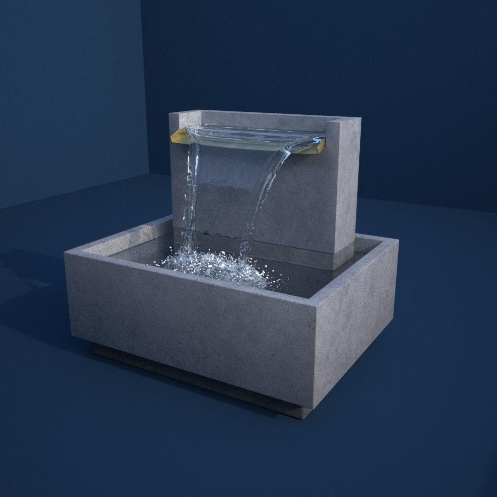 Clear Water V Drape Concrete Fountain 3D Model