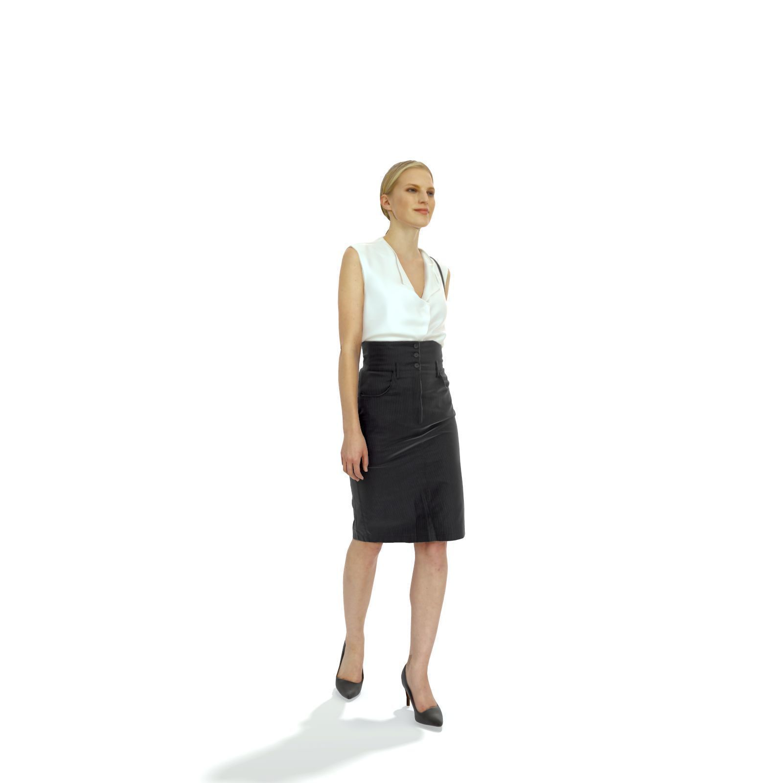 Blonde Business Woman with Long Skirt BWom0314-HD2-O06P01-S