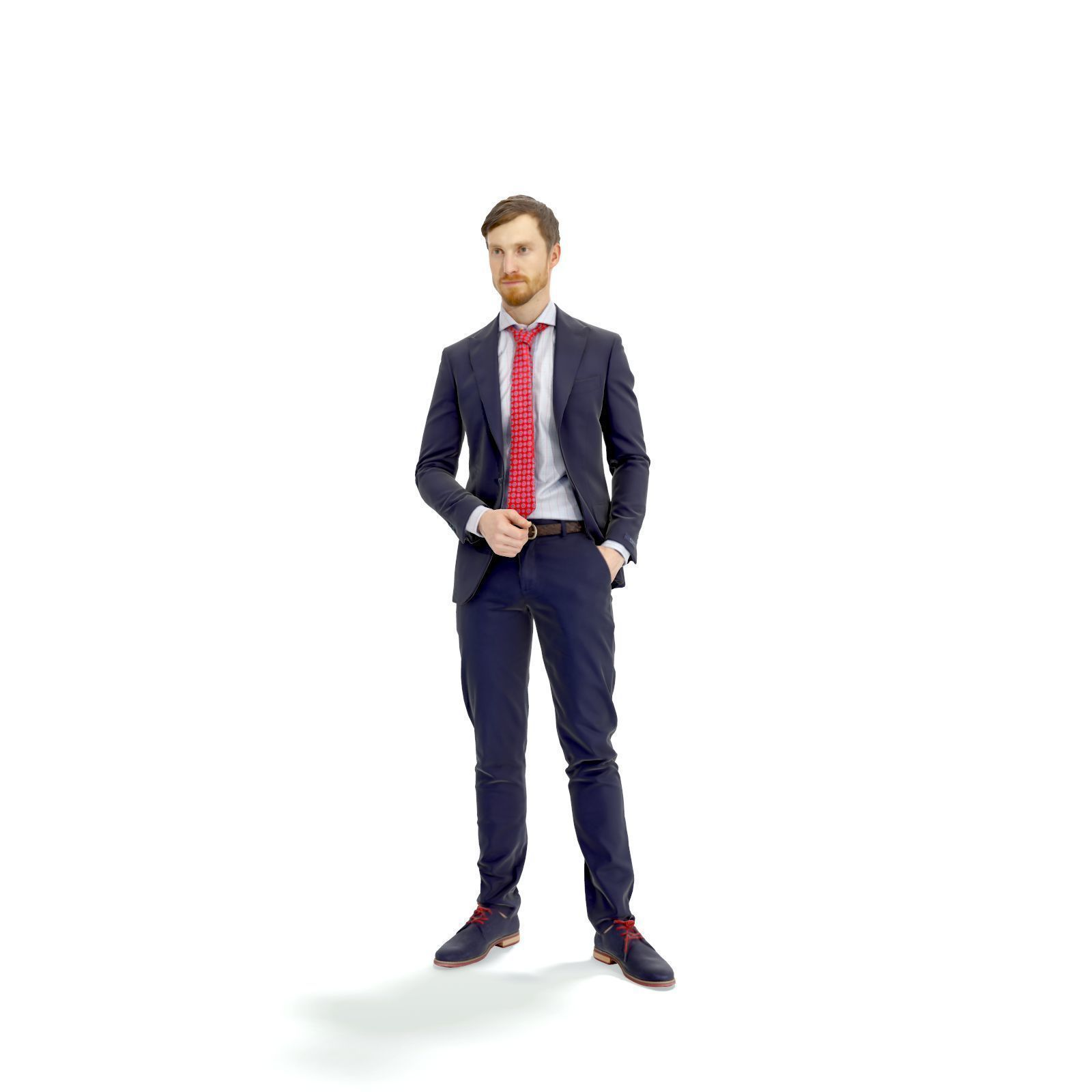 Standing Elegant Man with Red Tie EMan0313-HD2-O02P01-S