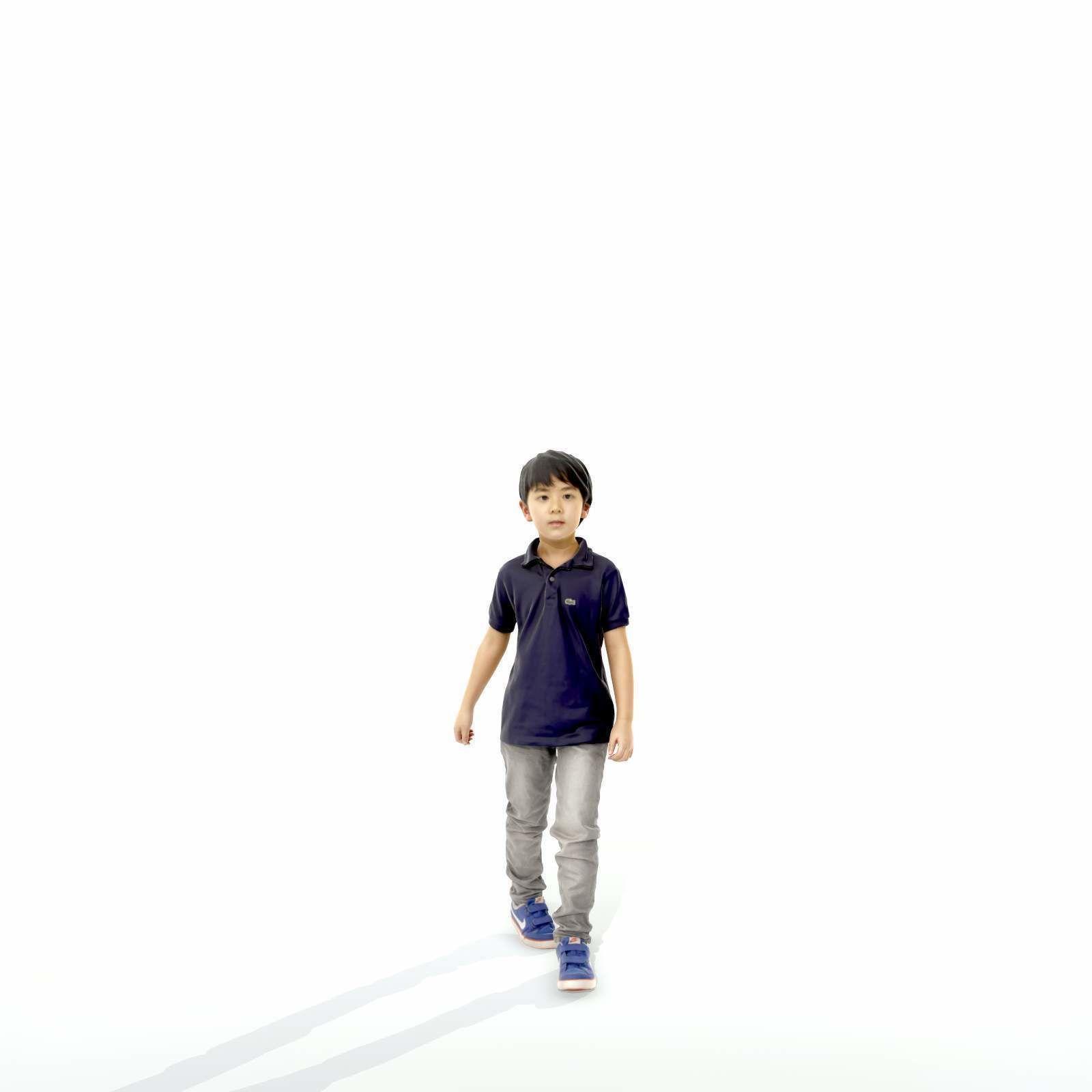 Small Boy Walking with Black Polo T-Shirt CBoy0300-HD2-O03P01-S