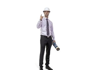 3D model Engineer with White Helmet and Blueprints