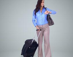 3D Woman wth Blue Shirt and Black Suitcase