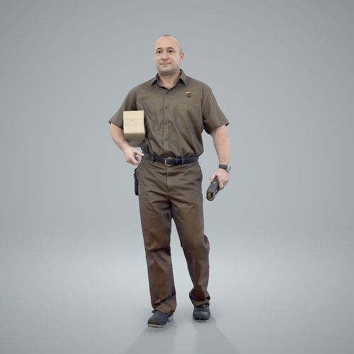 Standing Delivery Man with Uniform WMan0305-HD2-O01P01-S