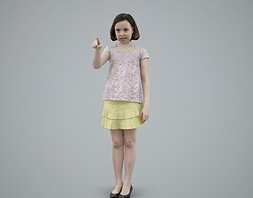 Girls with Yellow Skirt Pointing Finger 3D model