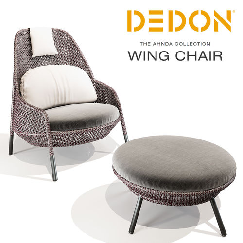 Dedon De 3d dedon ahnda wing chair and footstool cgtrader