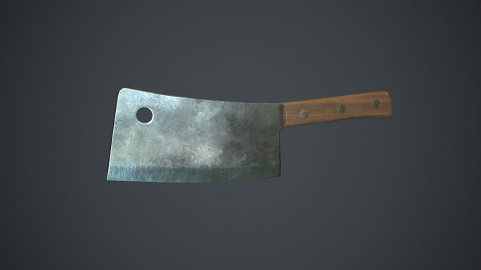 butcher knife pbr game ready 3d model low-poly max obj mtl fbx 1