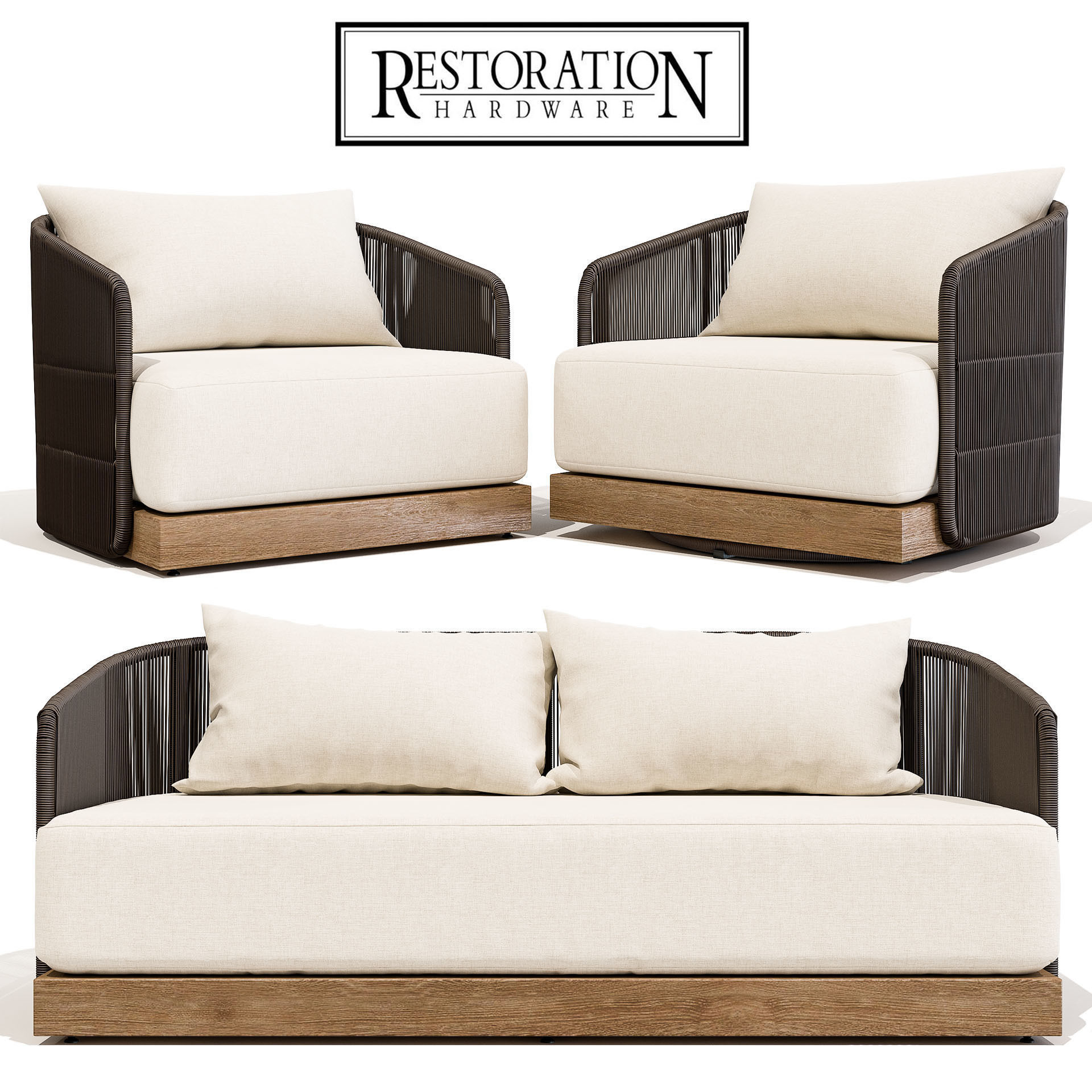 Restoration Hardware Havana Sofa 68 With Lounge And Swivel Chair Model Max Obj Mtl 1