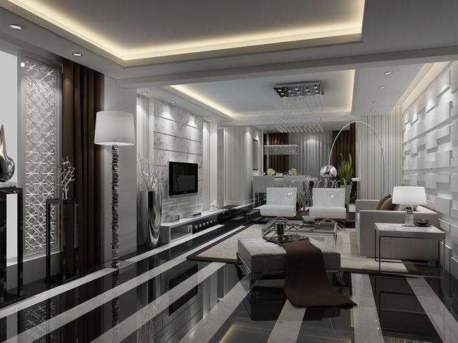 Avant Garde Luxury Family Living Room 3d Model