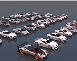 3D model low poly vr game ready pack of sports cars