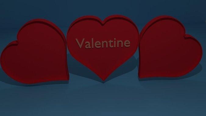 heart valentine love 3d model obj 3ds fbx stl blend dae 1