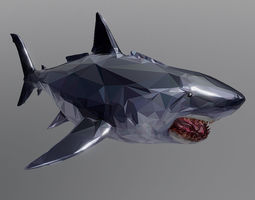 Dark Shark Low Polygon Art Ocean Fish 3D asset