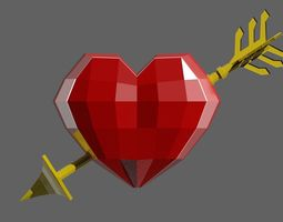 Heart and arrow LowPoly 3D model game-ready