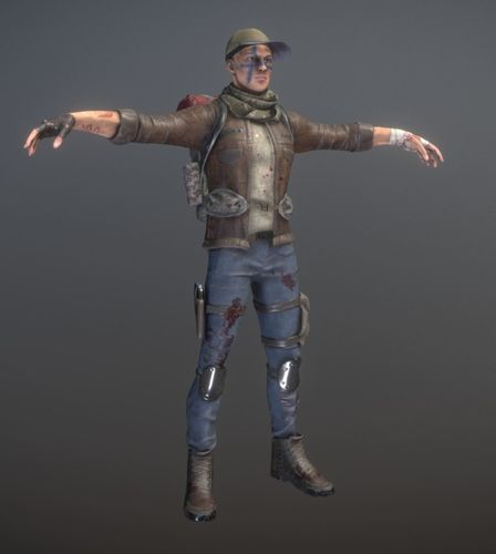 rigged male survivor 3d model low-poly rigged fbx 1